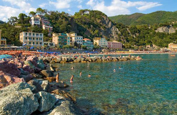 View over the beach of Monterosso al Mare at the Ligurian Coast, North West Italy.. Image shot 2009. Exact date unknown.