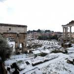 A view of the Ancient Forum covered in s