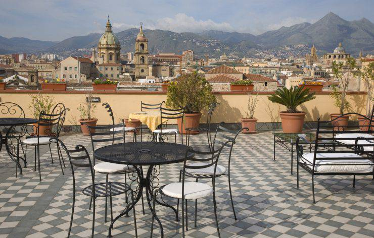 """Terrace above the roofs of Palermo, Sicily"""