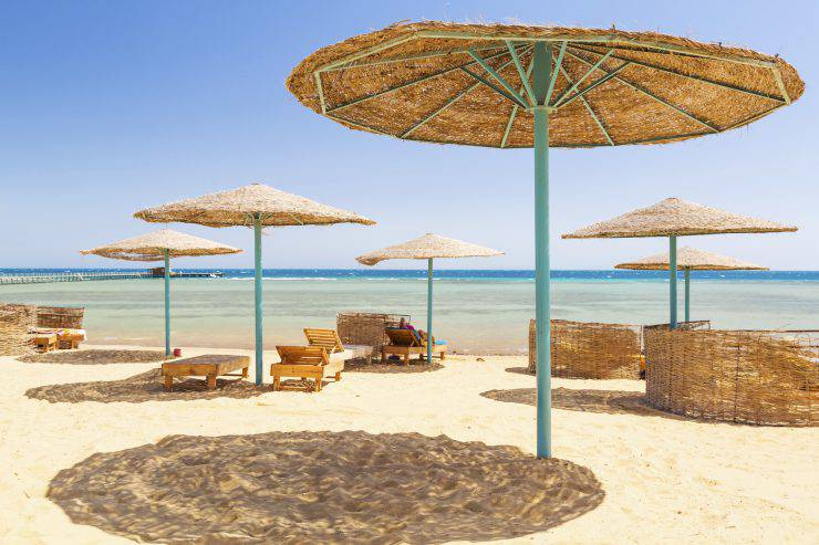 Tropical parasol on the beach of Red Sea in Egypt