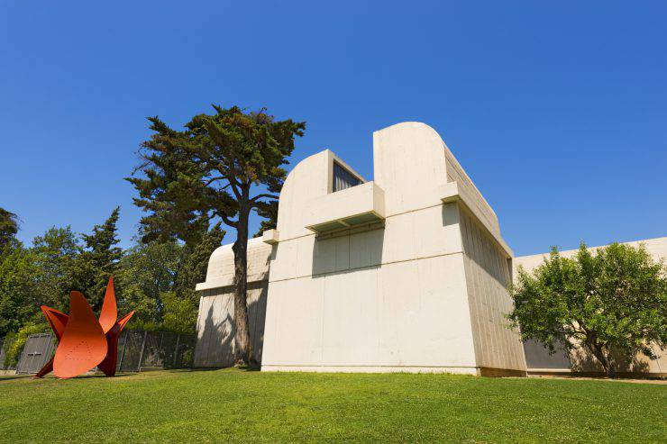 Barcelona, Spain - June 11th, 2014: Fundacio Joan Miro - 1975, is a museum of modern art with the works by Joan Miro, located on the hill called Montjuic in Barcelona, Spain. Architect: Josep Lluis Sert