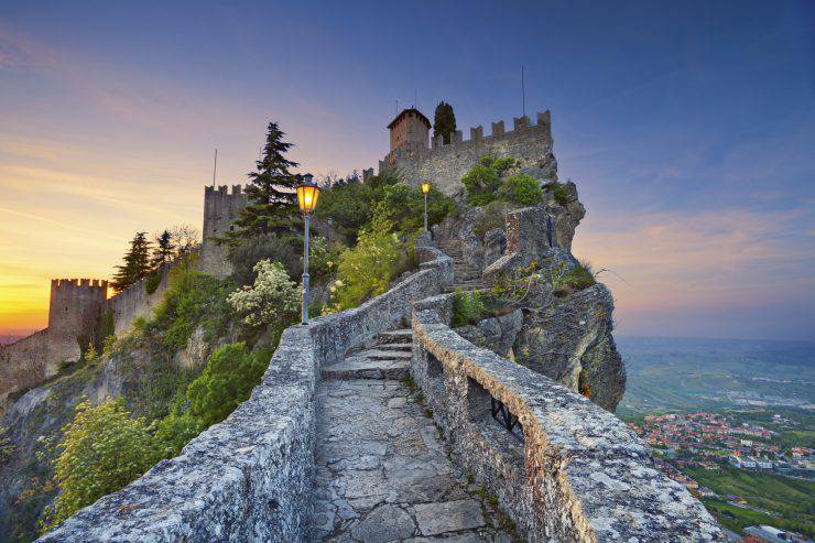 San Marino, San Marino - April 30, 2015: View of La Rocca o Guaita and the country of San Marino on april 30th during sunset.