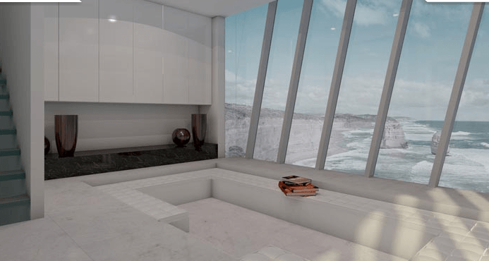 Casa a picco sul mare in Australia interno interno finestra