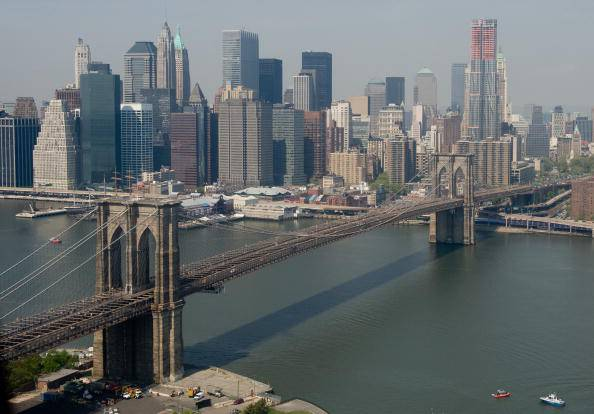 The Brooklyn Bridge, lower Manhattan and