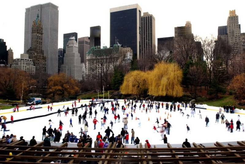 Ice Skaters Enjoy Central Park In New York CIty