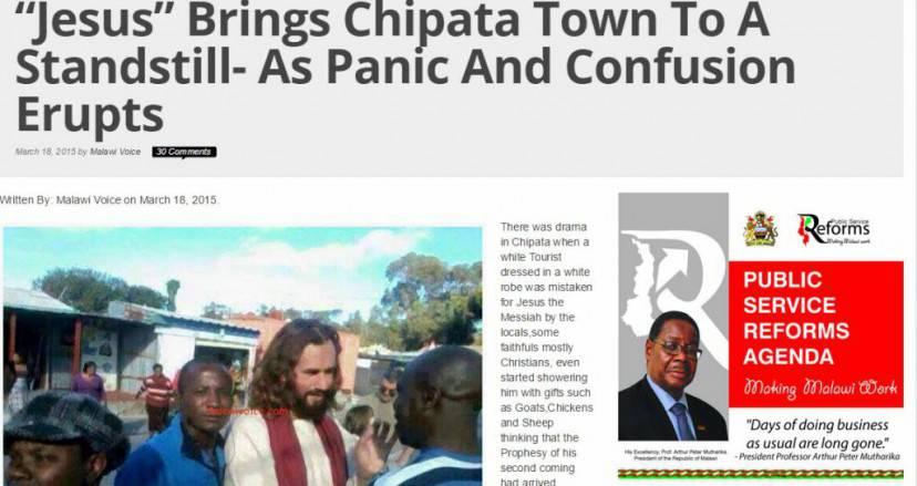L'articolo sul Malawi Voice del 18-3-2015