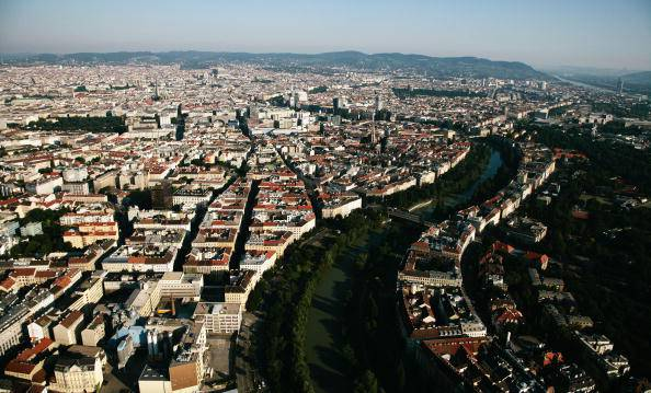 VIENNA, AUSTRIA - JUNE 22:  A general view of Vienna showing the River Danube from the UEFA European Football Championship hot air balloon ahead of the UEFA EURO 2008 Quarter Final match between Spain and Italy at Ernst Happel Stadion on June 22, 2008 in Vienna, Austria.  (Photo by Ulli Michel/Getty Images)