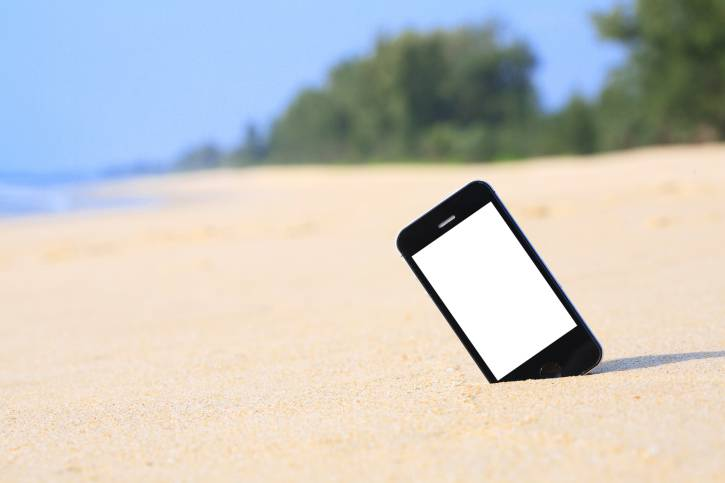 smartphone on beach.