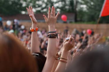 hands waving on the music festival