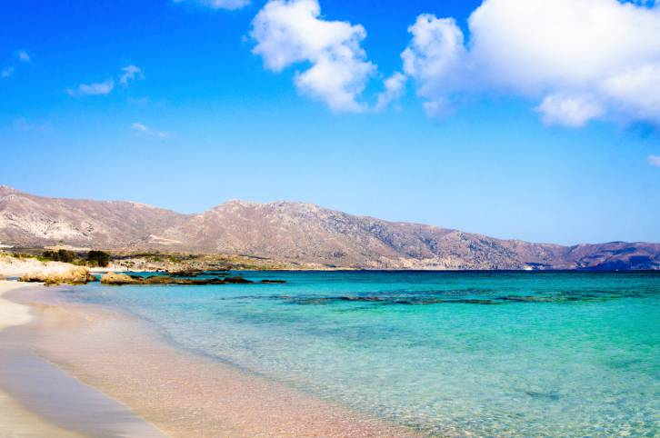 Elafonissi beach, with pinkish white sand and turquoise water, Crete