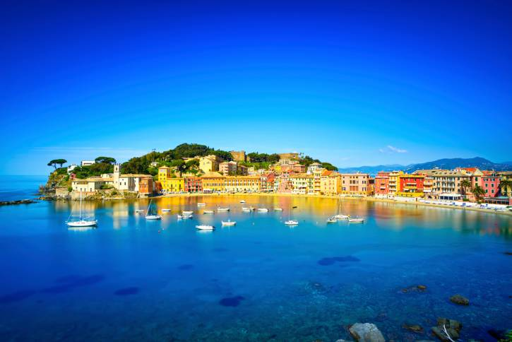 Sestri Levante, silence bay sea harbor and beach view. Liguria,