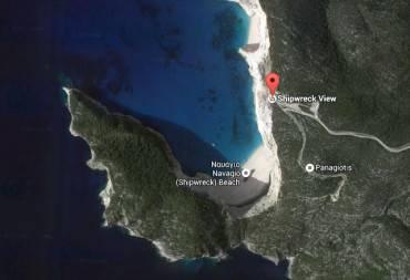 Spiaggia del Navagio o Relitto da Google Earth