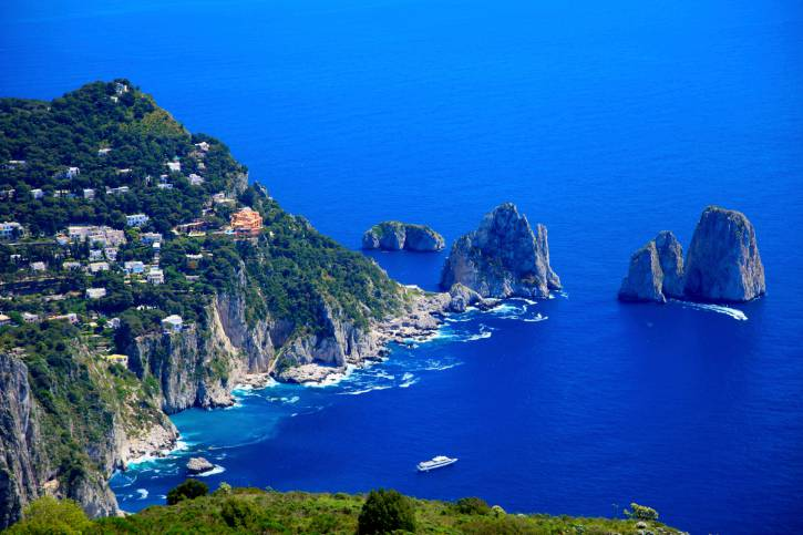Panoramic view above Capri Island and Faraglioni