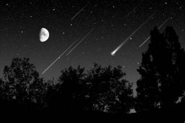 meteoric shower in the night