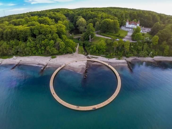 Ponte circolare Den Uendelige Bro in Danimarca, foto via inhabitat.com)