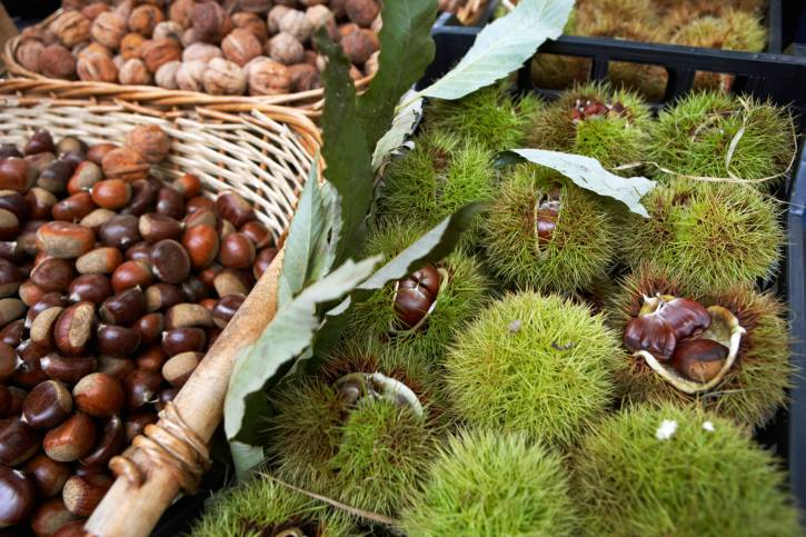 Chestnuts on market stall, close-up