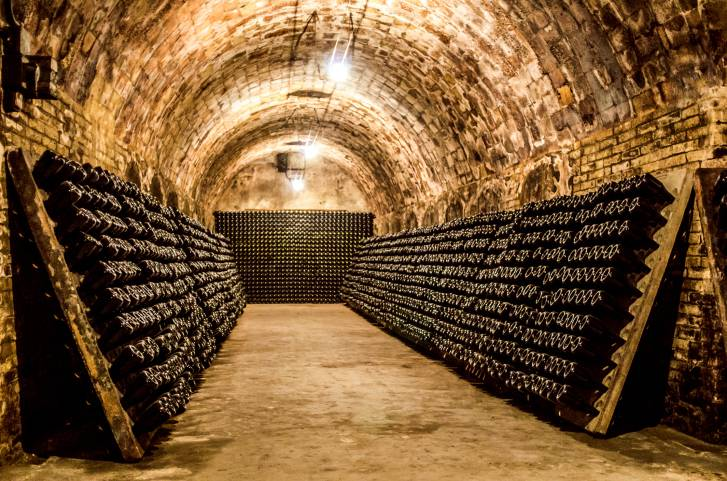 bottles in a cellar horizontal