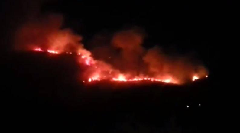 Incendio a Monte Vico Alvano, Piano di Sorrento (screenshot YouTube)