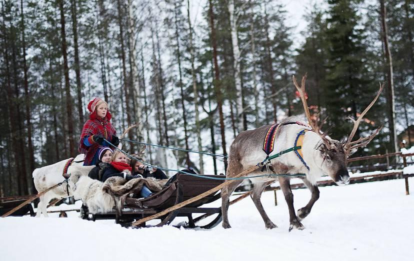 Bambini sulla slitta con la renna, Santa Claus Village, Rovaniemi (JONATHAN NACKSTRAND/AFP/Getty Images)