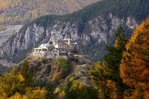 This picture taken on October 25, 2013 shows the Queyras castle near the village of Château-Ville-Vieille, in the regional park of Queyras, in the French Alps, southeastern France.   AFP PHOTO / JEAN-PIERRE CLATOT        (Photo credit should read JEAN-PIERRE CLATOT/AFP/Getty Images)