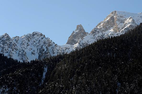 A picture taken on January 25, 2015 from Ceillac shows the Queyras mountain range where six skiers died victims of an avalanche a day earlier in the French Alps. Rescue workers found today the bodies of the six skiers, six French people aged from 50 to 70) who went missing after being carried away by an avalanche during a trek. AFP PHOTO/ JEAN-PIERRE CLATOT (Photo credit should read JEAN-PIERRE CLATOT/AFP/Getty Images)