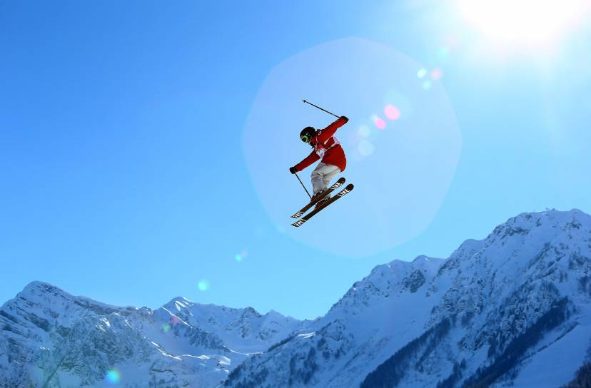 SOCHI, RUSSIA - FEBRUARY 05:  An athlete trains during Ski Slopestyle practice at the Extreme Park at Rosa Khutor Mountain ahead of the Sochi 2014 Winter Olympics on February 5, 2014 in Sochi, Russia.  (Photo by Streeter Lecka/Getty Images)