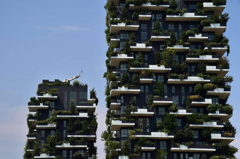 A picture taken on July 24, 2015 shows a view of the Bosco Verticale towers (Vertical Forest) in the Porta Nuova area in Milan. AFP PHOTO / GIUSEPPE CACACE        (Photo credit should read GIUSEPPE CACACE/AFP/Getty Images)