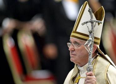 Pope Francis leaves Saint Peter's basilica at the Vatican, at the end of a prayer as part of the World Day of Prayer for the Care of Creation, on September 1, 2015. Pope Francis on September 1 called on priests to pardon women who have abortions, and the doctors who perform them, during the upcoming Jubilee year -- overruling hardline traditionalists within the Catholic Church. AFP PHOTO / ANDREAS SOLARO        (Photo credit should read ANDREAS SOLARO/AFP/Getty Images)