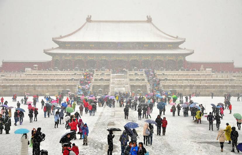 Neve sulla Città Proibita a Pechino (ChinaFotoPress/ChinaFotoPress via Getty Images)