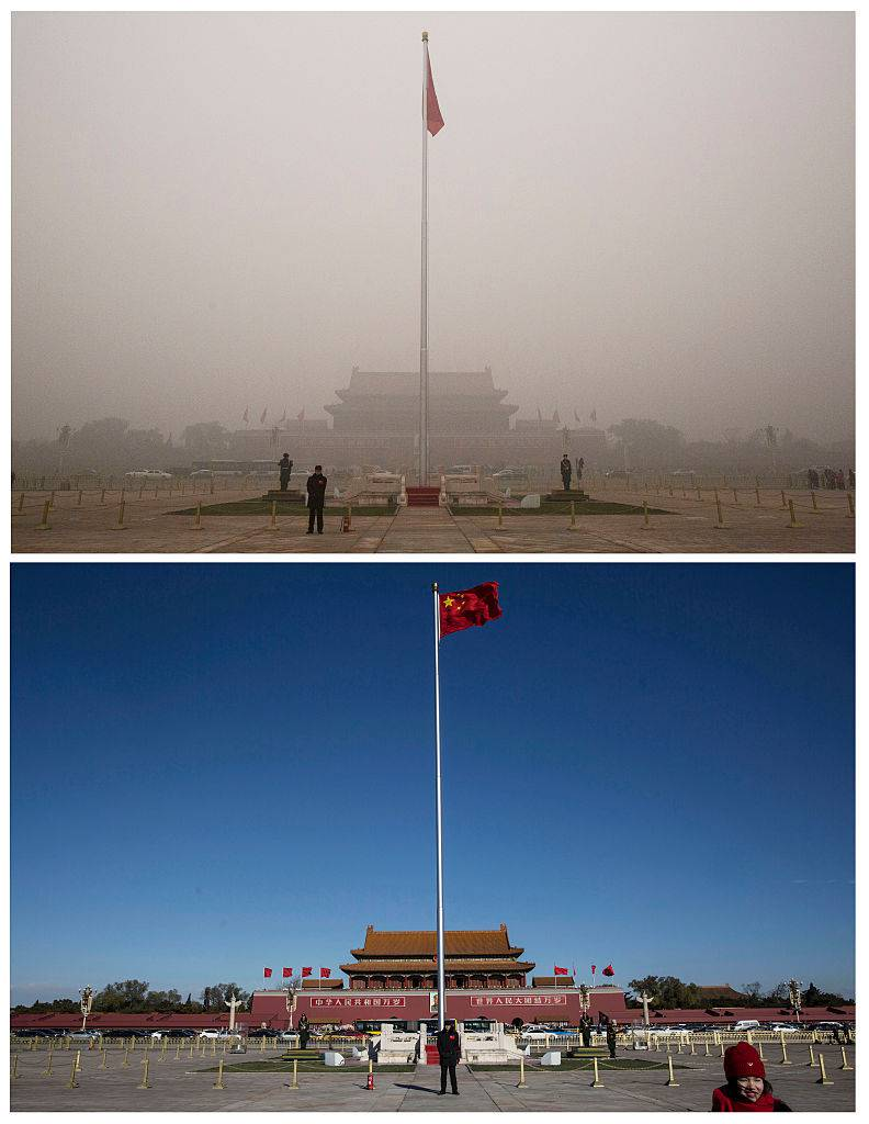 BEIJING, CHINA - DECEMBER 02: In this composite of two separate images, Tiananmen Square is seen in heavy pollution, top, on December 1 and 24 hours later under a clear sky on December 2, 2015 in Beijing, China. Until a strong north wind arrived late Tuesday, China's capital and many cities in the northern part of the country recorded the worst smog of the year on November 30 and December 1, 2015 with air quality devices in some areas unable to read such high levels of pollutants. Levels of PM 2.5, considered the most hazardous, crossed 600 units in Beijing, nearly 25 times the acceptable standard set by the World Health Organization. The governments of more than 190 countries are meeting in Paris this week to set targets on reducing carbon emissions in an attempt to forge a new global agreement on climate change.(Photo by Kevin Frayer/Getty Images)