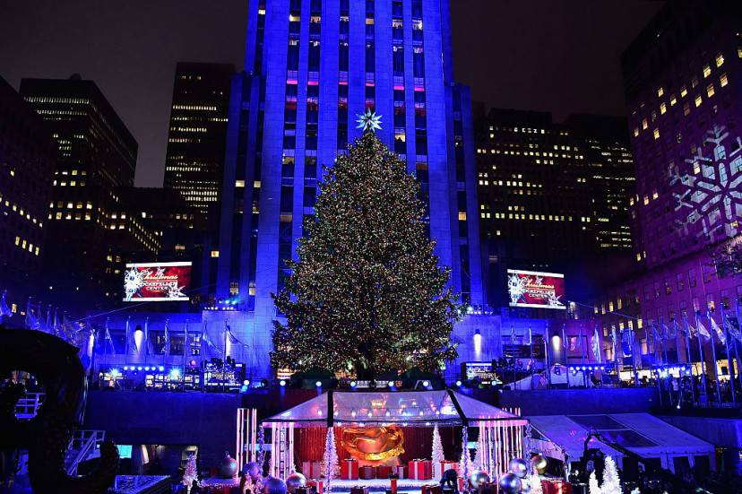 New York, accensione albero di Natale 2015 a Rockfeller Center (Getty Images)