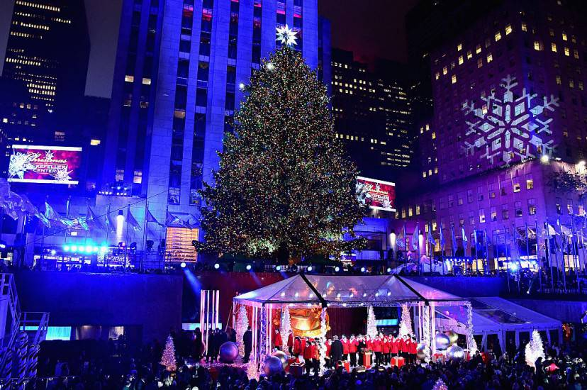 New York, accensione albero di Natale 2015 a Rockfeller Center (Getty Images)