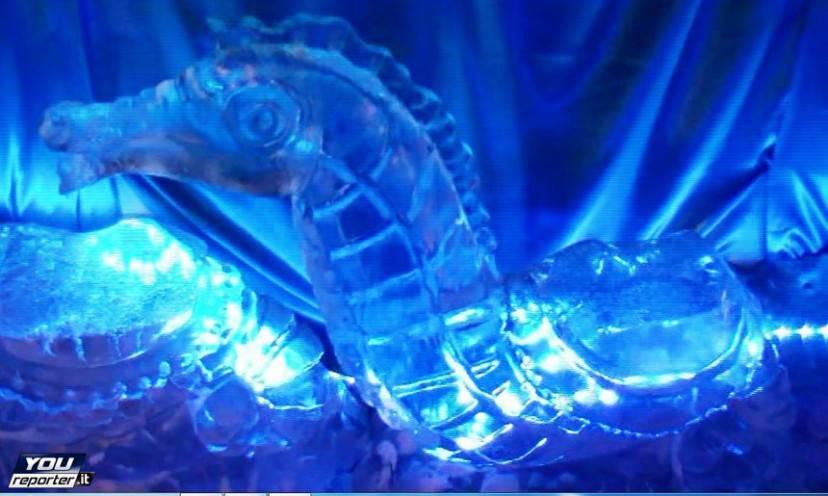 Cavalluccio marino nel presepe di ghiaccio di Ischia (Foto YouReporter.it)