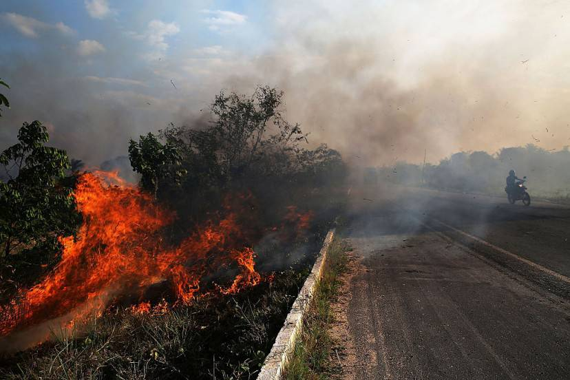 ZE DOCA, BRAZIL - NOVEMBER 23:  A fire burns along a highway in a deforested section of the Amazon basin on November 23, 2014 in Ze Doca, Brazil. Fires are often set by ranchers to clear shrubs and forest for grazing land in the Amazon basin. The non-governmental group Imazon recently warned that deforestation in the Brazilian Amazon skyrocketed 450 percent in October of this year compared with the same month last year. The United Nations climate change conference begins December 1 in neighboring Peru.  (Photo by Mario Tama/Getty Images)