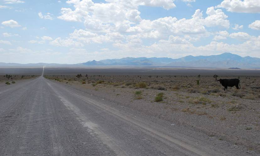 Strada a Groom Lake, vicino all'Area 51 (Foto di Geckow. Wikimediacommons. Pubblico Dominio)