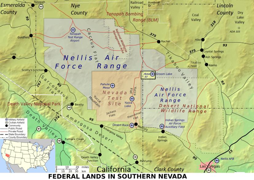Mappa Area51 (Finlay McWalter - USGS Topo mapsGIS. CC BY-SA 3.0 via Wikicommons)