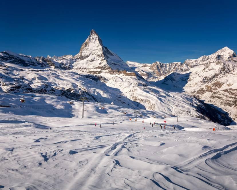 Piste da sci sul versante svizzero del Cervino (Thinkstock)