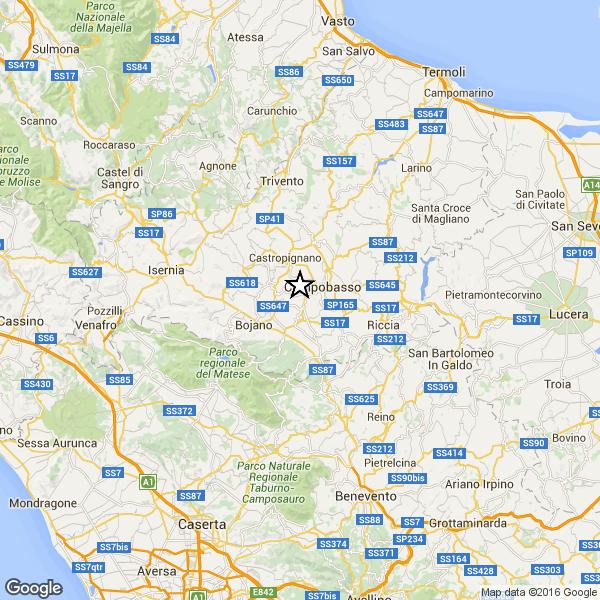 Terremoto a Campobasso (Ingv GoogleMap)