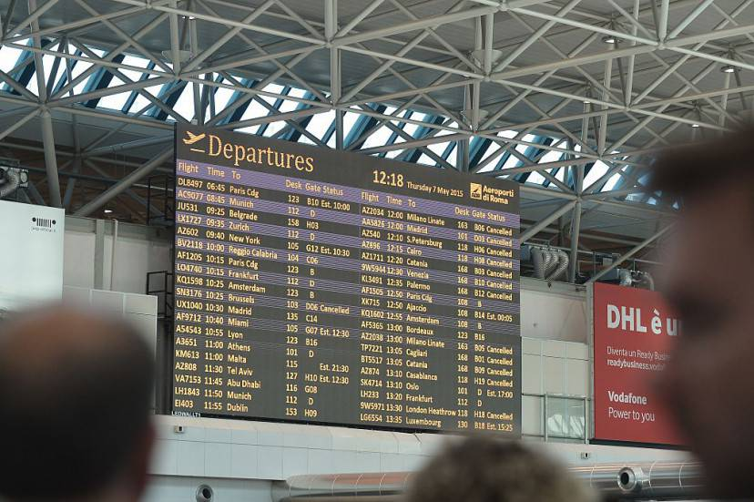 "A flights information screen shows cancelled flights at Rome's Fiumicino international airport where a fire broke out overnight at Terminal 3, on May 7, 2015. Several airport employees were treated for smoke inhalation but there were no serious injuries as a result of a blaze which took hold overnight in terminal three of the Italian capital's main airport. The Rome airports authority ADR said the cause was ""probably a short circuit."" Police do not suspect any foul play. AFP PHOTO / TIZIANA FABI        (Photo credit should read TIZIANA FABI/AFP/Getty Images)"