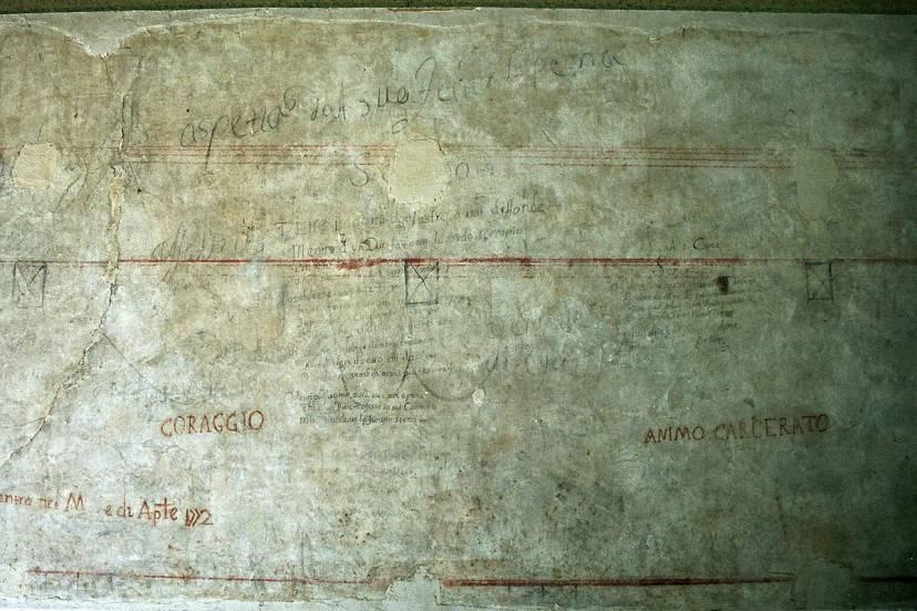 Le scritte dei detenuti nelle prigioni di Palazzo Chiaromonte a Palermo (Wikipedia CC BY-SA 2.5)