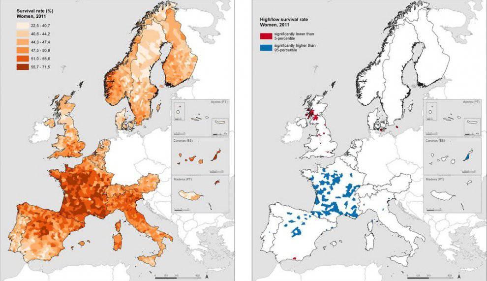 Le aree più scure nella mappa sono quelle in cui la percentuale di 'sopravvissuti' è via via più alta  @ Journal of epidemiology and community health