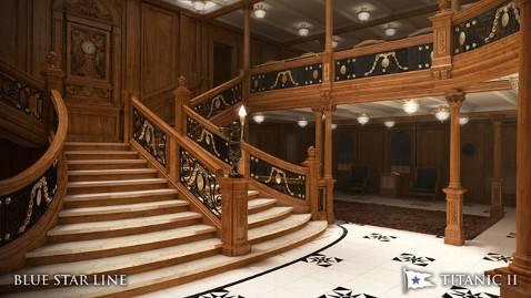 Titanic II, scalinata (Rendering)