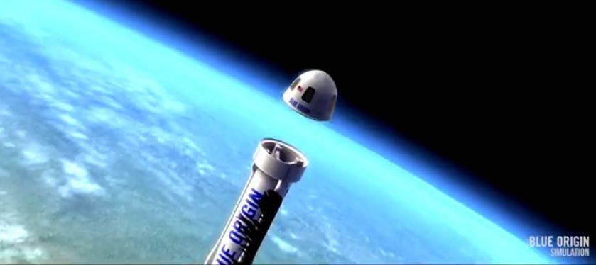 Animazione del volo nello spazio della Blue Origin (Screenshot)