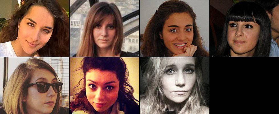 Da sinistra in alto, Elena Maestrini, Serena Saracino, Francesca Bonello, Valentina Gallo, Elisa Scarascia Mugnozza, Lucrezia Borghi e Elisa Valent