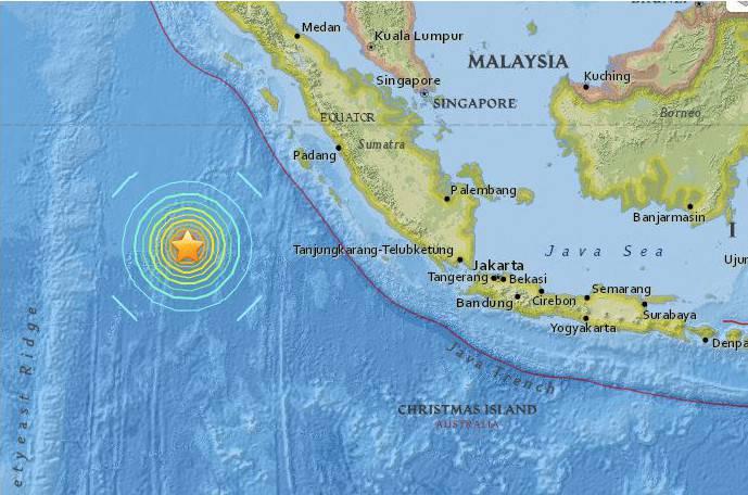 Terremoto a Sumatra (Screenshot mappa USGS)