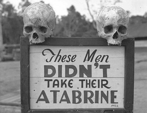 Una macabra pubblicità del medicinaleanti-malarico Atabrine