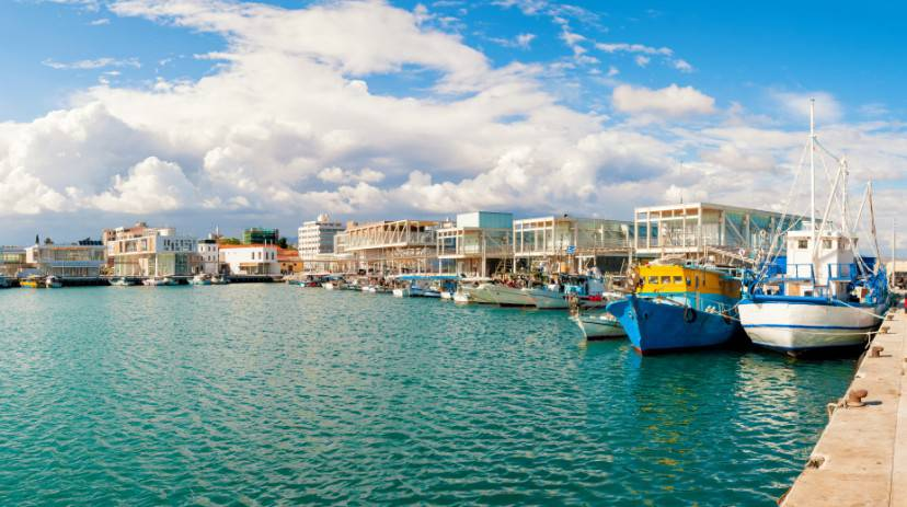 Fishing boats docked at newly constructed Limassol marina. Cyprus