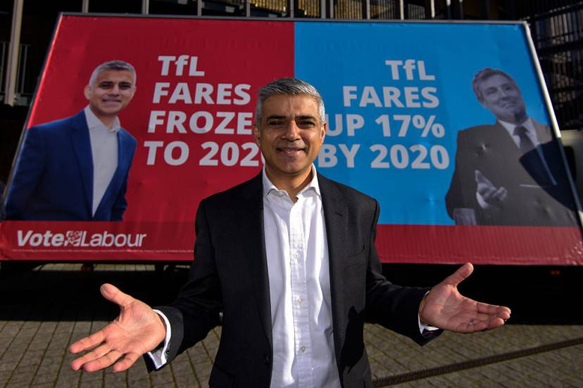 LONDON, ENGLAND - MARCH 29:  Labour Mayoral Candidate Sadiq Khan poses next to his new campaign poster on March 29, 2016 in London, England. Sadiq Khan is currently one of the main contenders running against Conservative candidate Zac Goldsmith to become London's new Mayor, as both parties campaign ahead of the election on May 5. (Photo by Ben Pruchnie/Getty Images)