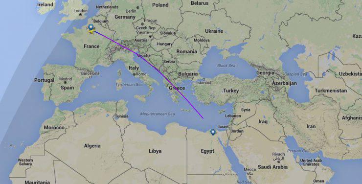 Aereo EgyptAir Parigi - IL Carico (La rotta da Flightradar24)