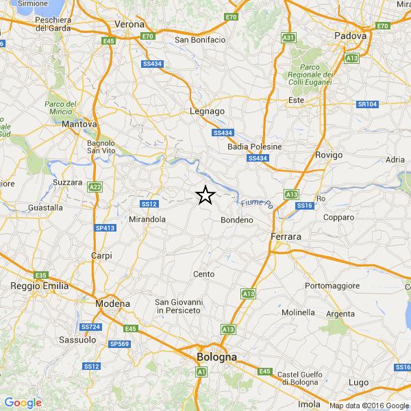 Scossa di terremoto nel Mantovano: epicentro a Felonica
